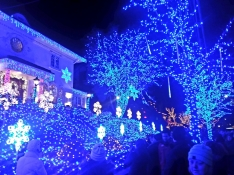 Scenes from Tall Family's time in New York City - Dyker Heights Lights and the holiday market at Bryant Park